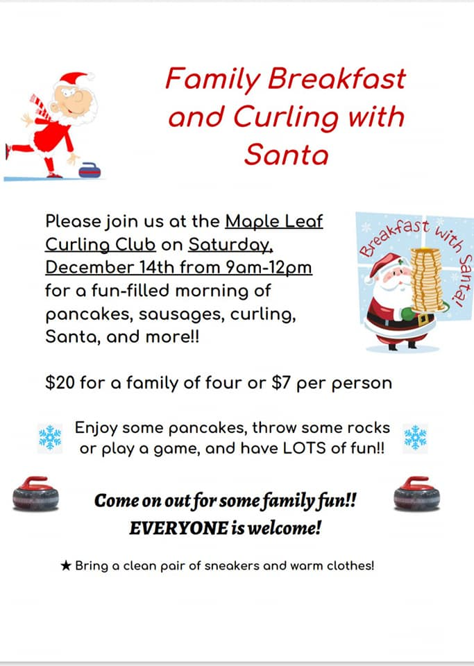 Family Breakfast and Curling with Santa @ Maple Leaf Curling Club