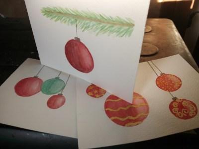 Boules de noël à l'aquarelle