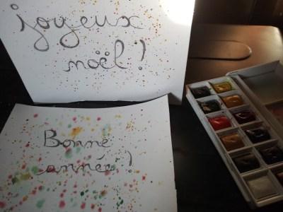 cartes de voeux avec projection de peinture