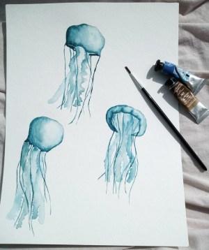 méduses à l'aquarelle avec la technique humide