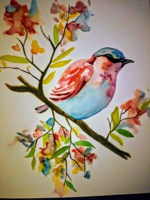 Oiseau coloré à la peinture aquarelle