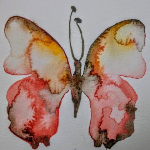 Papillon aquarelle avec auréoles