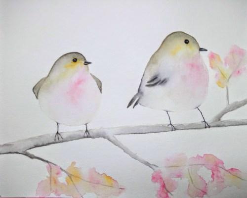 oiseaux simplifiés à l'aquarelle