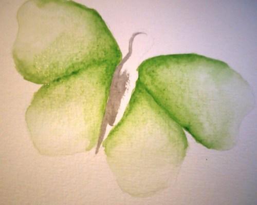 papillon à l'aquarelle dégradé vert