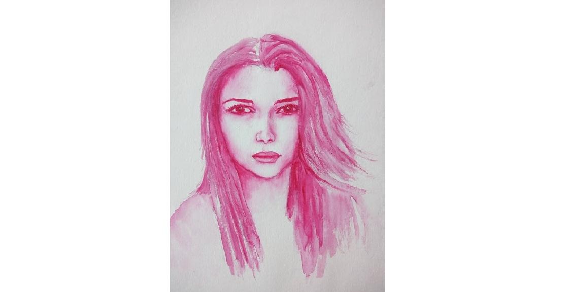 Un portrait à l'aquarelle d'une seule couleur