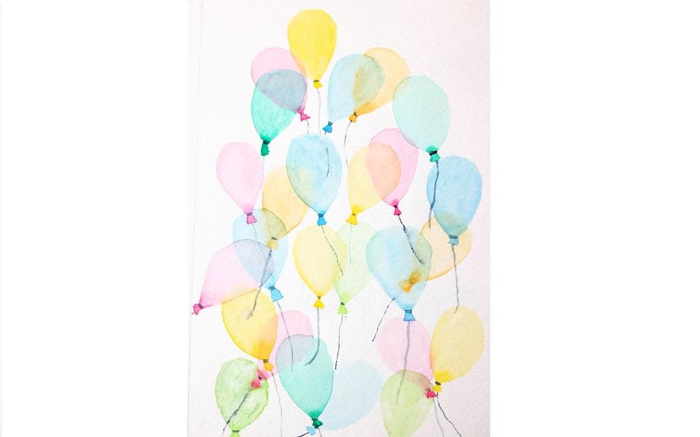 Carte d'anniversaire : des ballons à l'aquarelle