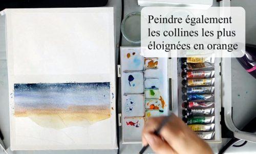Peindre le ciel à l'aquarelle dans l'humide