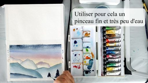Peindre les sapins à l'aquarelle