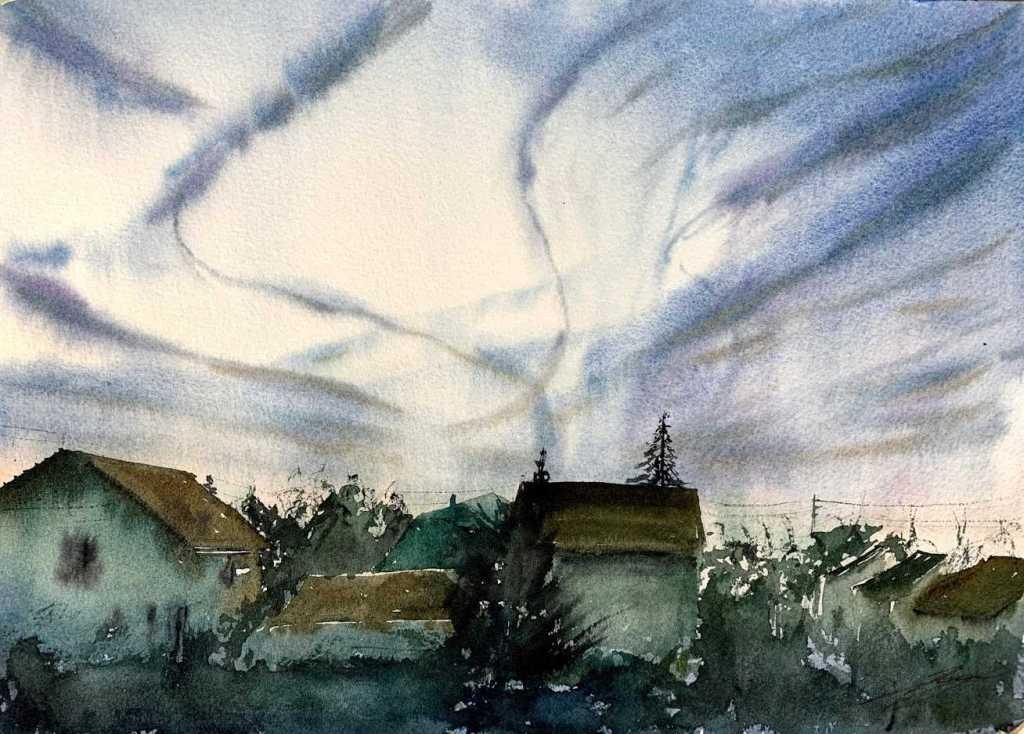 Maisons et ciel nuageux à l'aquarelle par l'aquarelliste Rémy Lach