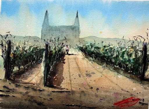 Vignes à l'aquarelle par l'aquarelliste Rémy Lach