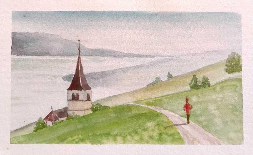 paysage avec une église à l'aquarelle