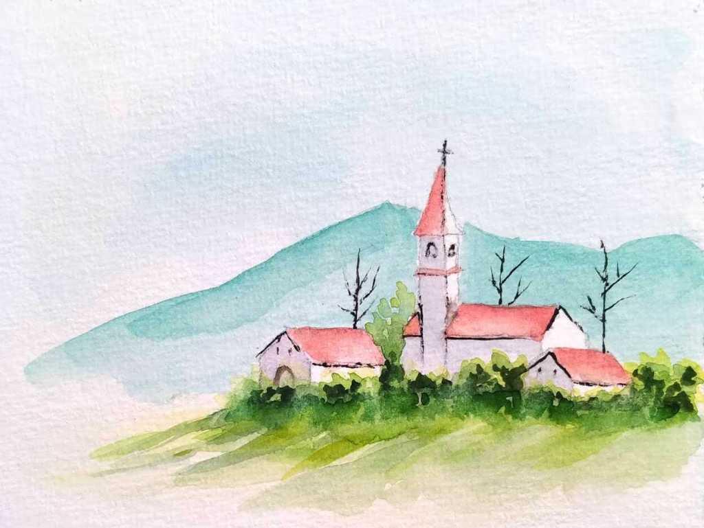 Petit village à l'aquarelle