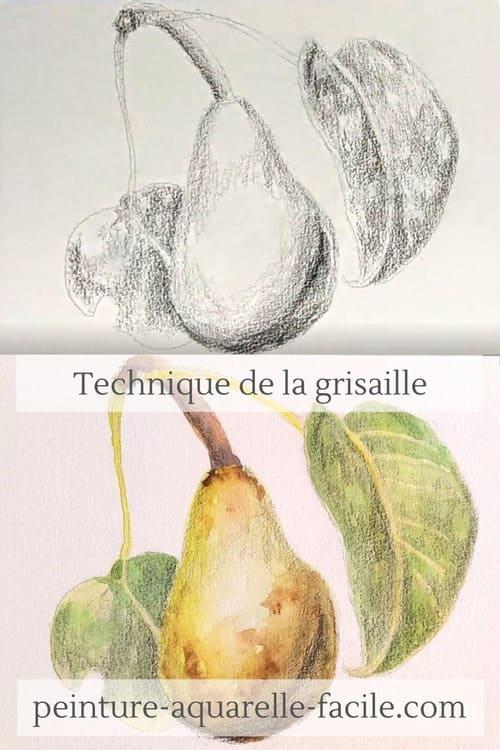 Une poire à l'aquarelle avec la technique de la grisaille