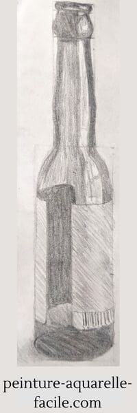 Dessin fini avec contours, valeurs et effets de texture de la bouteille
