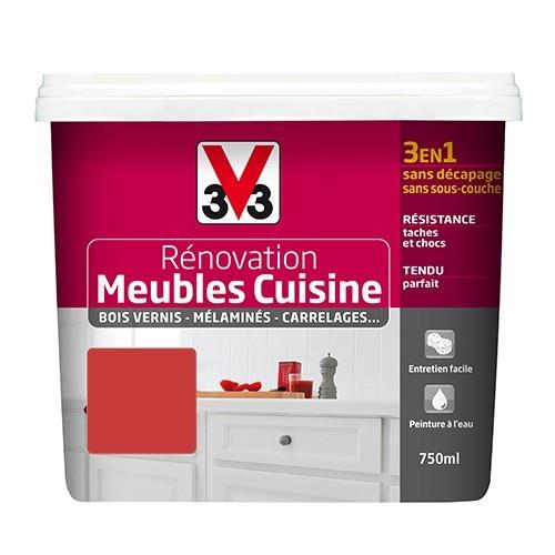 v33 renovation meubles cuisine bois vernis melamines stratifies satin cardinal de la marque v33