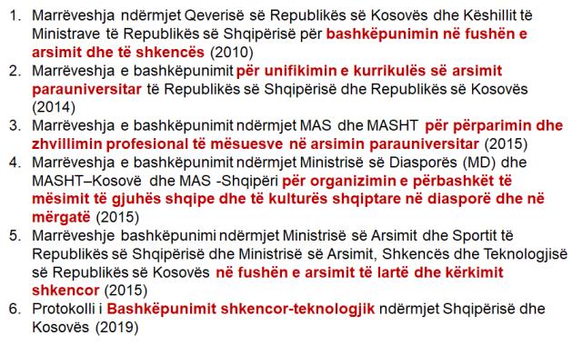 Marreveshjet Shqiper-Kosove ne arsim