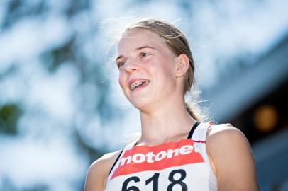 Alisa Seilonen Nuorten yleisurheilun SM-kisoissa Saarijärvellä 11.8.2018.