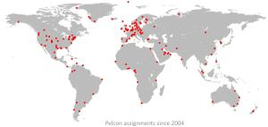 World map of Pelcon assignments