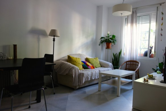 La pièce de vie, avec un espace salon et un espace salle à manger. Sur le rebord de la fenêtre, une collection de plantes. Cette photo postée sur le site AirBnb m'a attirée vers cette maison. © Fabienne Bodan