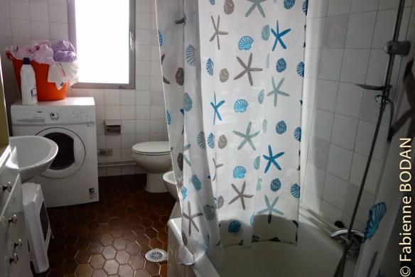 Salle de bains avec baignoire et machine à laver. Vos hôtes se chargent de faire fonctionner la machine...et vous étendez ensuite votre linge...© Fabienne Bodan
