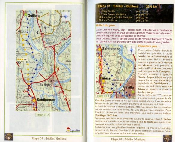 Guide Gérard du Camino, 2e édition, janvier 2014, Via de la Plata et Camino de Sanabria, un exemple de présentation d'une étape.