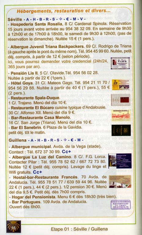 Guide Gérard du Camino, 2e édition, janvier 2014, Via de la Plata et Camino de Sanabria, un exemple de présentation d'une étape (dernière page de l'exemple).