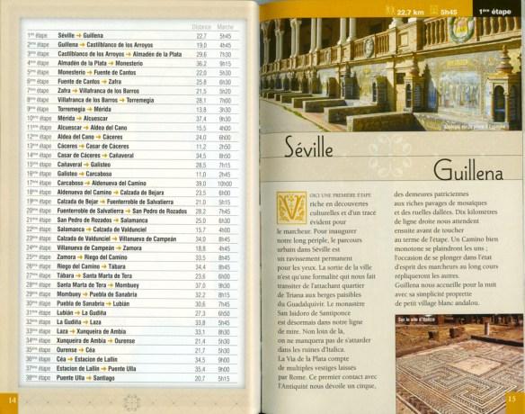 """Guide """"Le chemin de la Plata"""", Jean-Yves Grégoire, Rando Editions, mai 2007, exemple de présentation d'une étape (première double page)."""