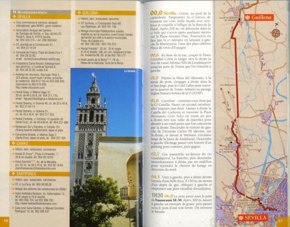 """Guide """"Le chemin de la Plata"""", Jean-Yves Grégoire, Rando Editions, mai 2007, exemple de présentation d'une étape (seconde double page)."""