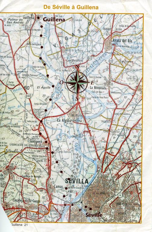 """Guide Lepère """"Sur le chemin de Saint Jacques de Compostelle, La Via de la Plata et le camino sanabrés"""", Edition ? (3), exemple de présentation d'une étape (sixième page)."""