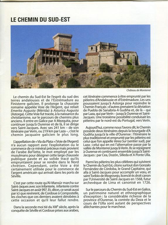 Document délivré par l'office du tourisme de la Xunta de Galicia sur la Via de la Plata, exemple de page