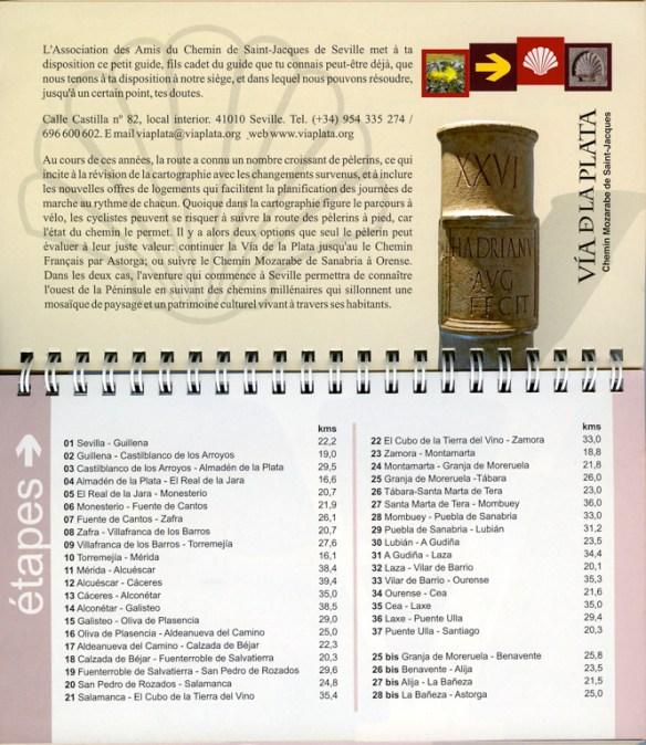 "Guide du chemin Mozarabe de Saint-Jacques ""Via de la Plata"" édité par los Amigos del Camino de Santiago de Sevilla, les étapes."
