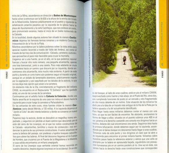 Guide en espagnol Via de la Plata des Editions Everest, de Joaquim Alonso, Miguel Pérez, exemple de présentation d'une étape (deuxième double page).
