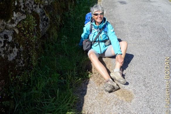 Il faut savoir regarder où l'on met les pieds ! Pour avoir voulu prendre une photo du Monastère d'Oseira, posé les bâtons, mais conservé le sac à dos, je n'ai pas vu le trou de 20 centimètres de profondeur au bord de la route. Ma Via de la Plata 2015 s'est dont arrêtée net, une sévère entorse ne me permettant plus de poser le pied par terre !