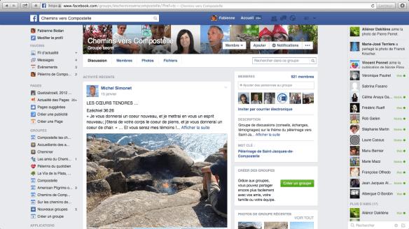 """Groupe de pèlerins francophones sur Facebook : """"Chemins vers Compostelle"""""""