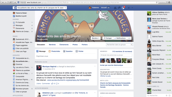 """Groupe de pèlerins francophones sur Facebook : """"Accueillants des amis du chemin de St Jacques de St Jean Pied de Port"""""""