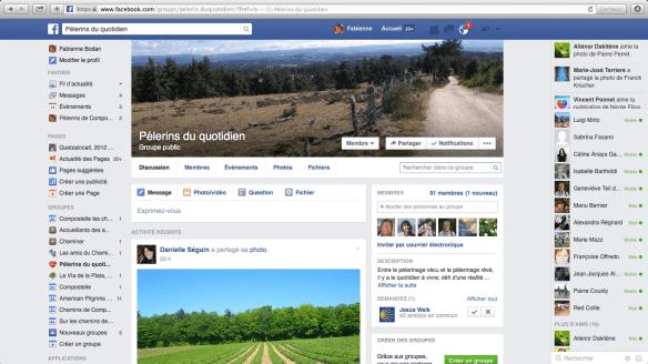 """Groupe de pèlerins francophones sur Facebook : """"Pélerins du quotidien"""""""