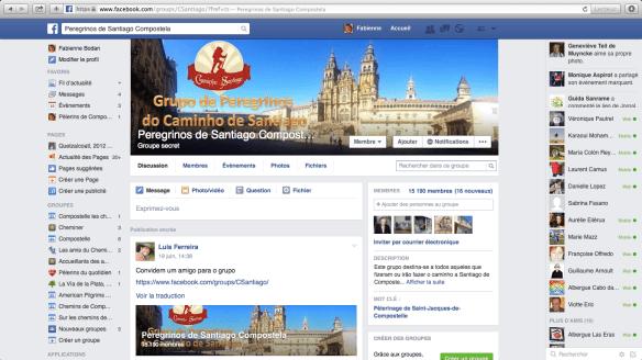 """Groupe de pèlerins lusophones sur Facebook : """"Peregrinos de Santiago Compostela"""""""