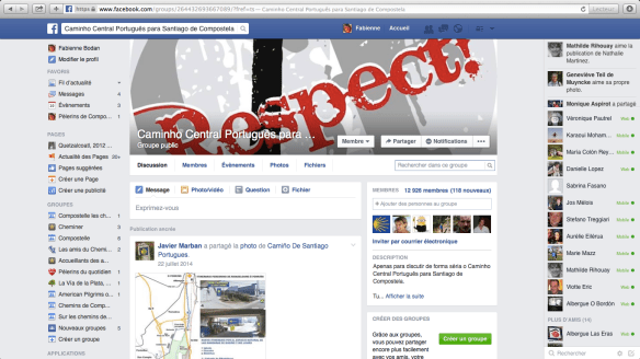"Groupe de pèlerins lusophones sur Facebook : ""Caminho Central Português para Santiago de Compostela"""