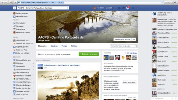 """Groupe de pèlerins lusophones sur Facebook : """"AACPS - Caminho Português de Santiago"""""""
