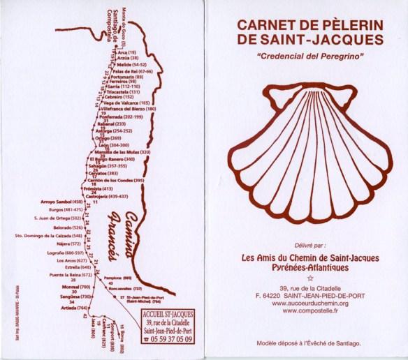 Crédentiale du bureau des pèlerins de Saint-Jean-Pied-de-Port