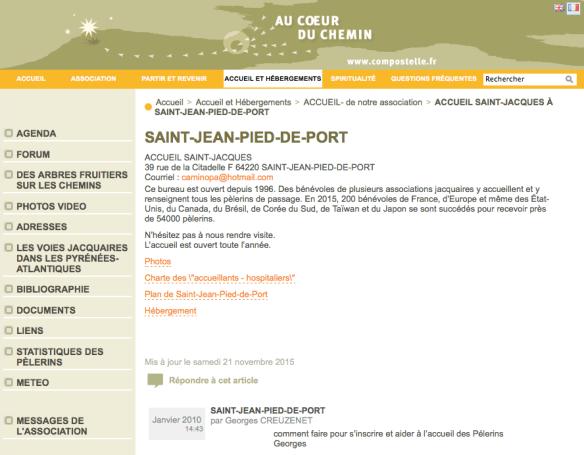 """Copie d'écran du site de l'association """"au coeur du chemin"""""""