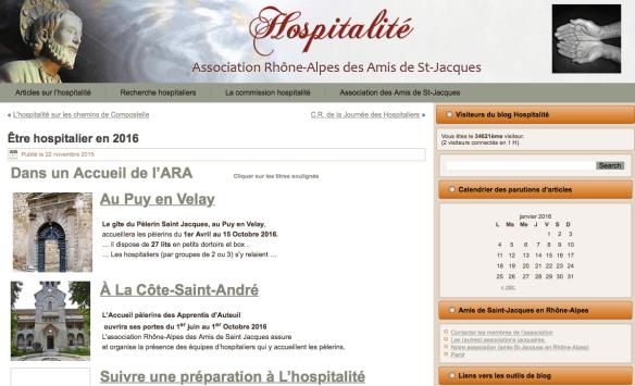 Capture d'écran du site de l'ARA (Association Rhône-Alpes des Amis de Saint-Jacques)