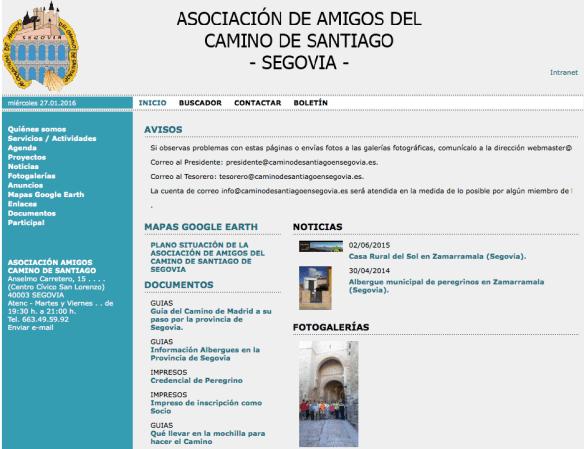 Capture d'écran de l'Asociación de Amigos del Camino de Santiago de Segovia