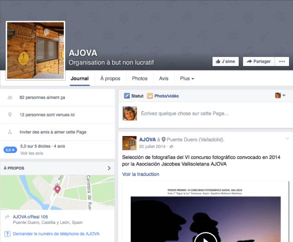 Capture d'écran de la page Facebook de Asociación Jacobea Vallisoletana de Puento Duero