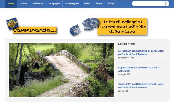 Capture d'écran du site de l'italien Flavio, auteur d'un nombre considérable en plusieurs langues de documents PDF sur les chemins français et espagnols