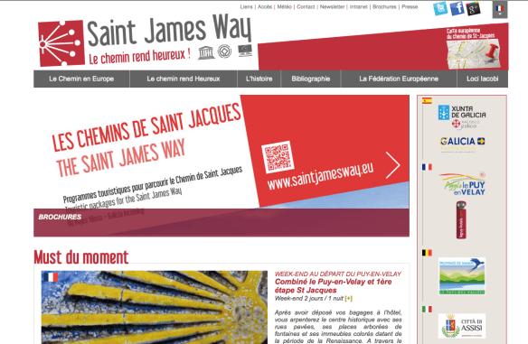 Capture d'écran de la Fédération Européenne des Chemins de Saint-Jacques de Compostelle