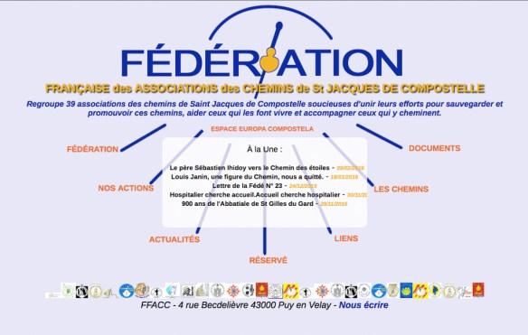 Capture d'écran du site internet de la FFACC