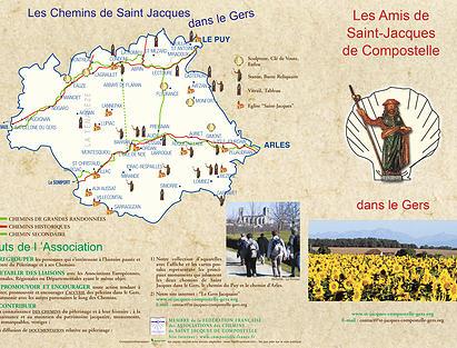 Carte des chemins de Compostelle dans le Gers. Source : site internet de Capture d'écran du site internet de l'association des amis de Saint-Jacques de Compostelle dans le Gers