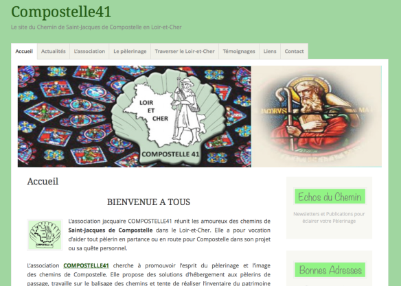 Capture d'écran du site internet de l'association Compostelle 41