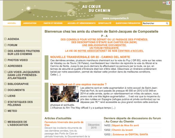 Capture d'écran du site internet de l'association des Amis des chemins de Saint Jacques des Pyrénées-Atlantiques
